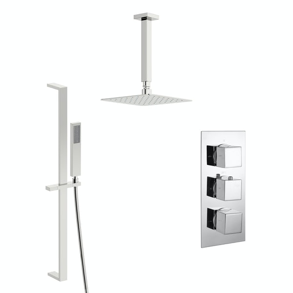 Kirke Connect concealed thermostatic mixer shower with ceiling arm and slider rail