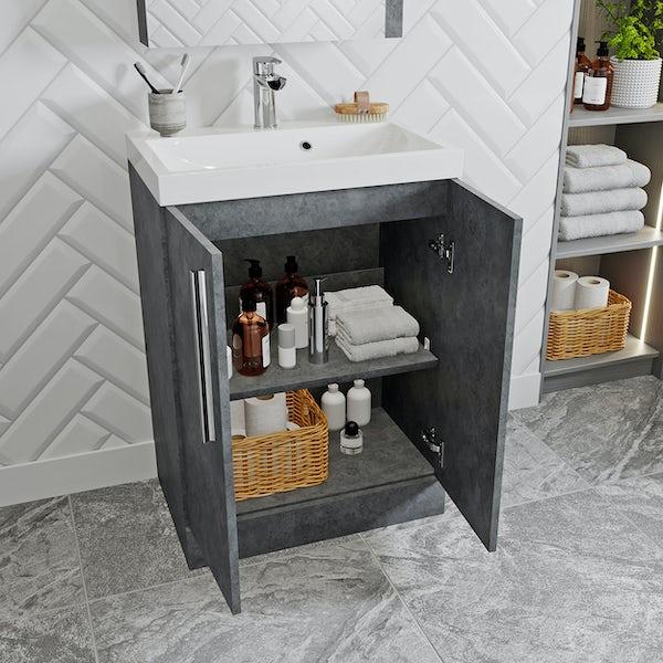 Orchard Kemp riven grey floorstanding vanity unit and basin 600mm
