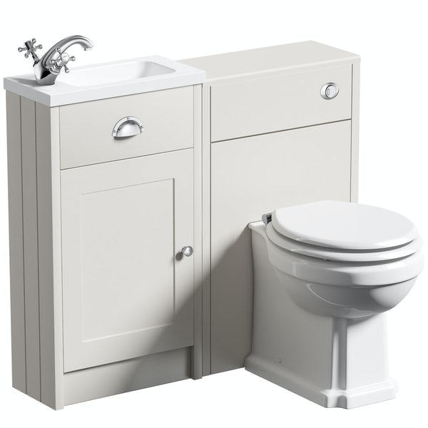 The Bath Co. Dulwich stone ivory cloakroom combination with white wooden seat