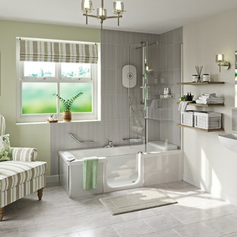 Kineduo left handed complete easy access shower bath with screen and white panel 1700 x 750