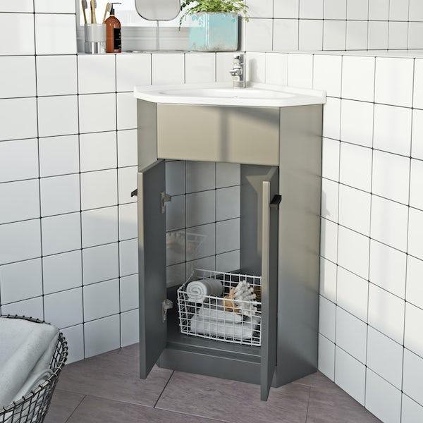 Clarity satin grey floorstanding vanity unit with black handle and ceramic basin 600mm