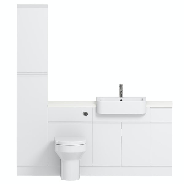 Reeves Wharfe white straight small storage fitted furniture pack with white worktop