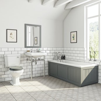 The Bath Co. Dulwich stone grey washstand suite with straight bath 1700 x 700mm
