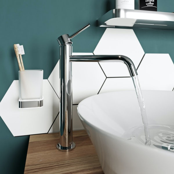Mode Spencer round chrome high rise basin mixer tap