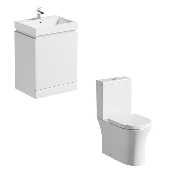 Mode Hardy close coupled toilet and white vanity unit suite 600mm