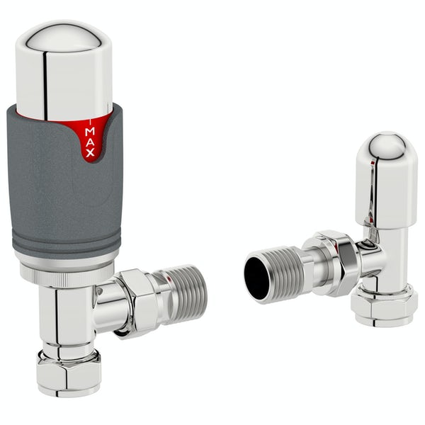 The Heating Co. Thermostatic anthracite grey angled radiator valves with lockshield