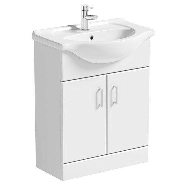 Bathroom Vanity Units B Q: Sienna White 65 Vanity Unit Basin Waste