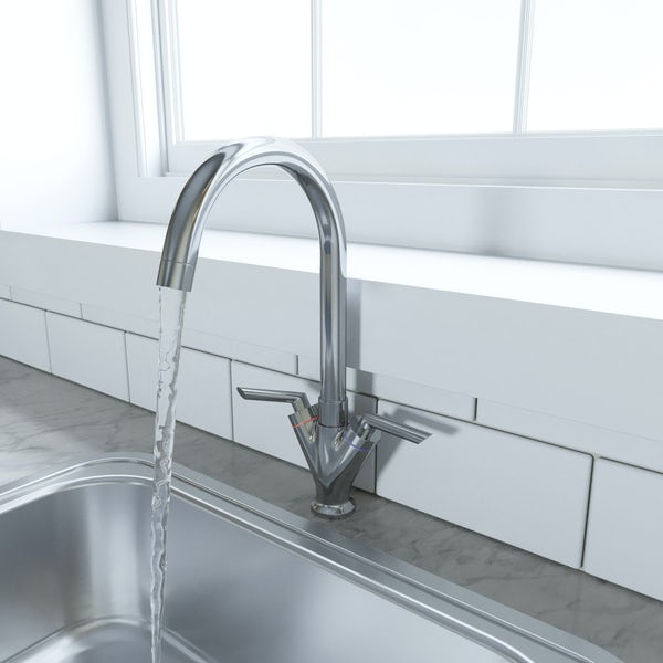 Schön chrome lever handle kitchen tap
