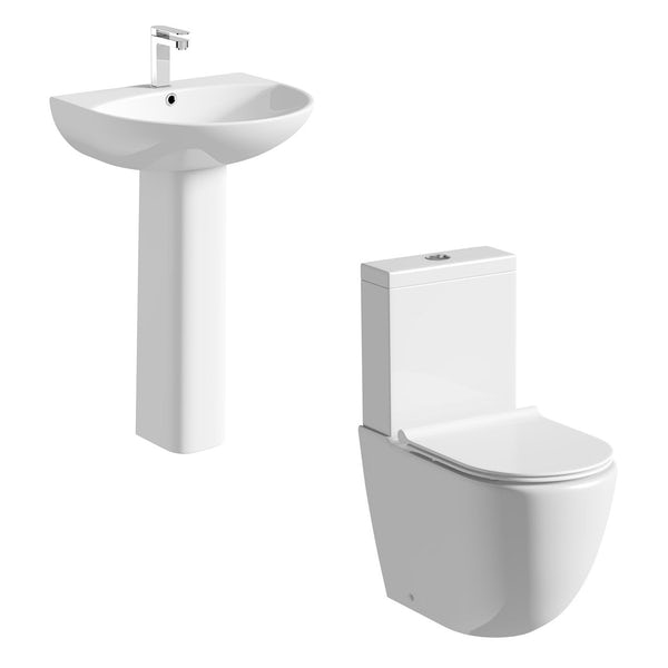 Mode Harrison slimline close coupled toilet and full pedestal basin suite