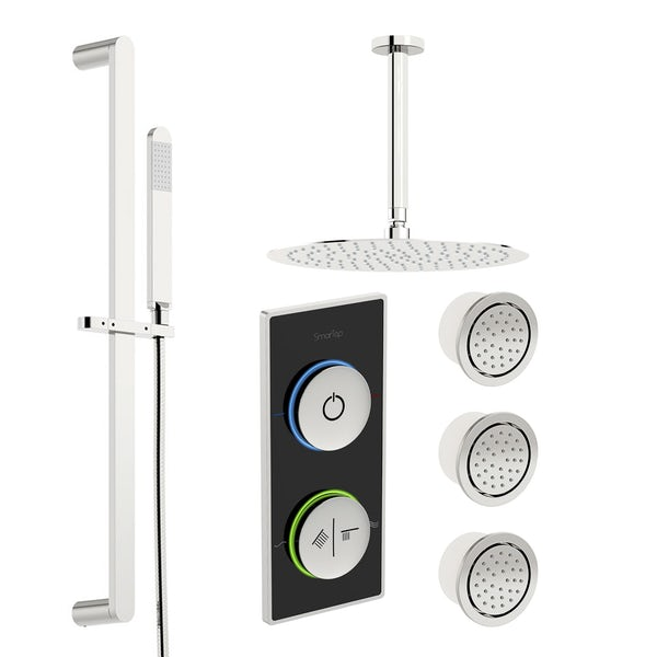 SmarTap black smart shower system with complete round ceiling shower set