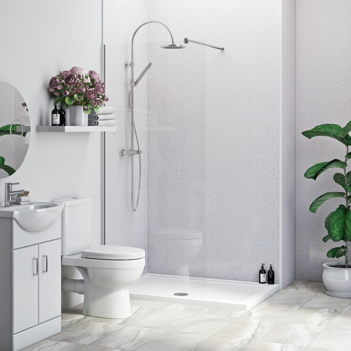 Multipanel Economy Sunlit Quartz shower wall single panel