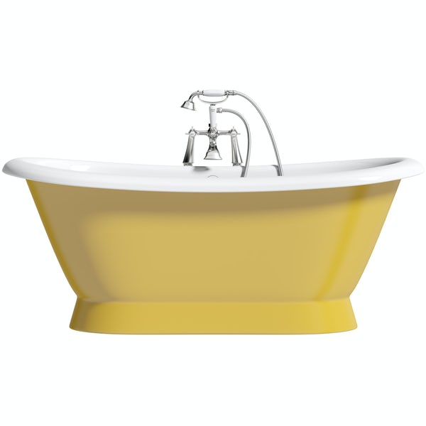 Artist Collection Honey Yellow traditional freestanding bath & tap pack