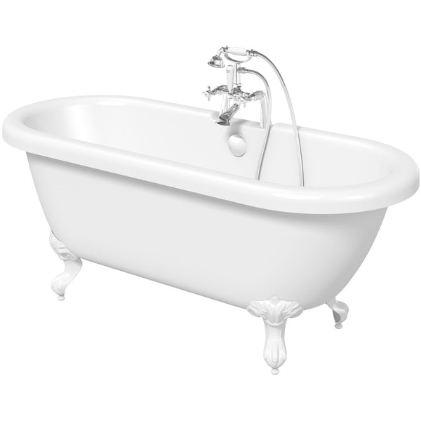 The Bath Co. Dulwich roll top bath with white ball and claw feet offer pack