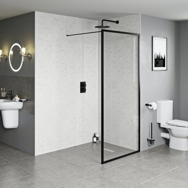 Orchard 6mm black framed wet room glass panel 800mm
