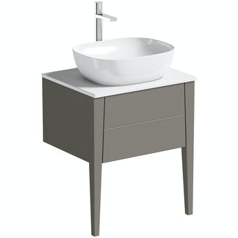 Mode Hale grey-stone matte wall hung vanity unit with ceramic countertop and basin 600mm