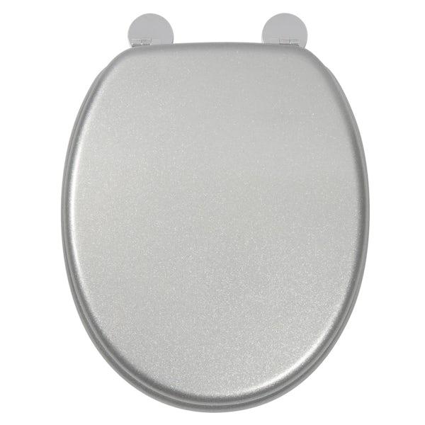 Croydex Silver quartz  flexi fix toilet seat
