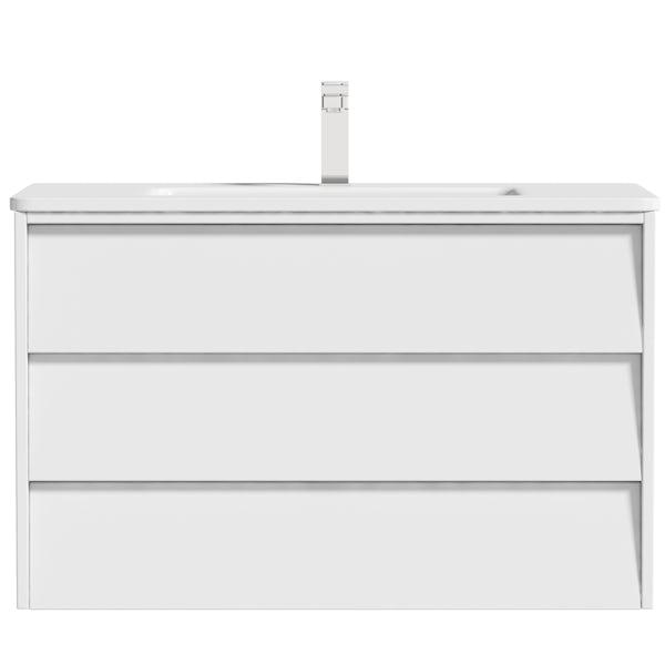 Mode Cortona white 800mm wall hung vanity unit and basin