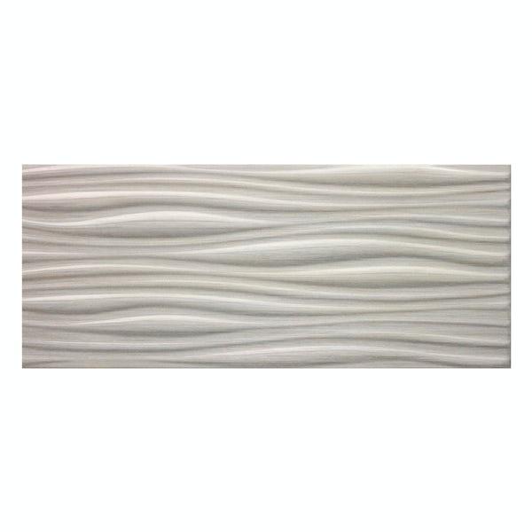Birch light grey linear wood effect structured gloss wall tile 250mm x 600mm