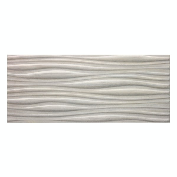 Birch light grey linear wood effect structured gloss wall tile 250mm x 600mm