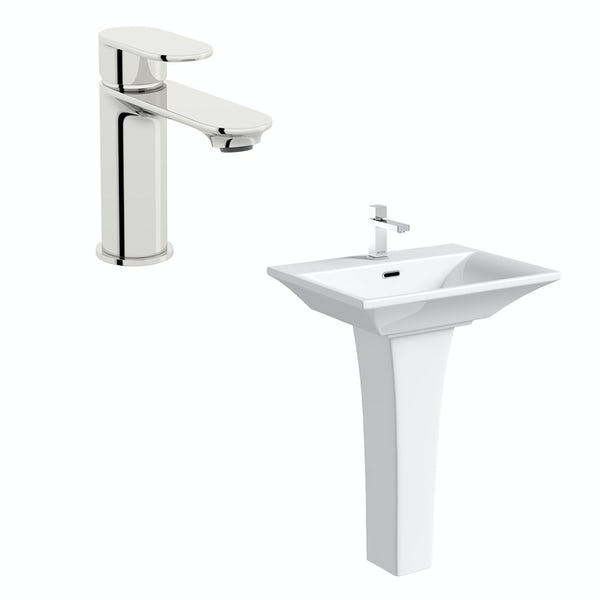 Mode Austin 1 tap hole full pedestal basin 600mm with tap