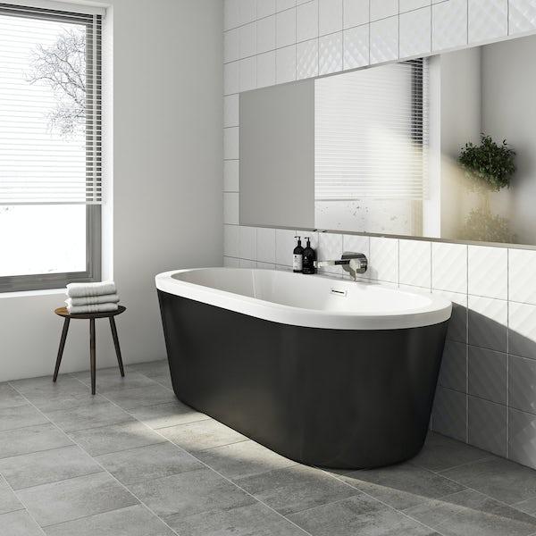 Crescent black freestanding bath