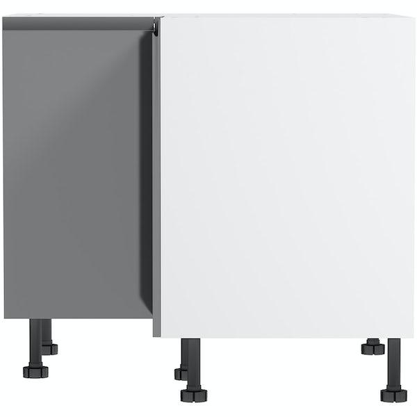 Schon Chicago mid grey handleless 950mm corner base unit