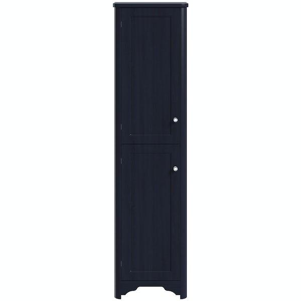 The Bath Co. Beaumont sapphire blue tall storage unit
