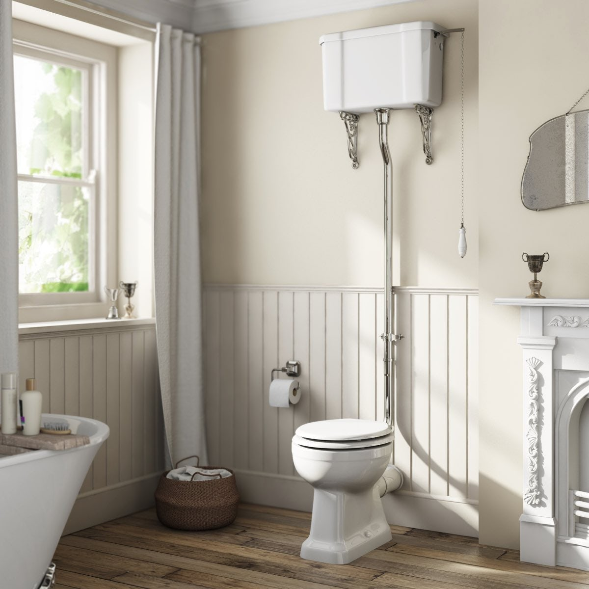 Camberley High Level Toilet With Wooden Soft Close Seat