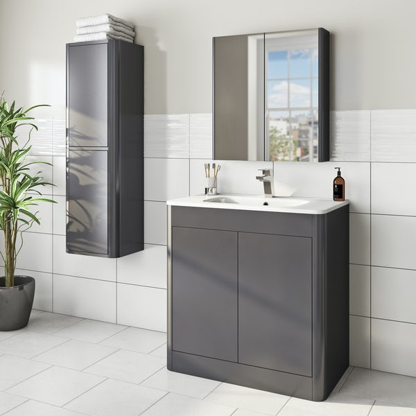Mode Carter slate gloss grey furniture package with floorstanding vanity unit 800mm