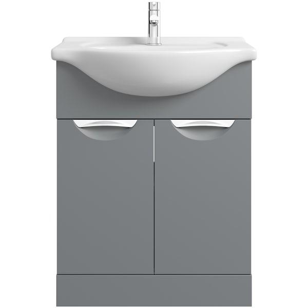 Orchard Elsdon stone grey vanity unit and basin 650mm