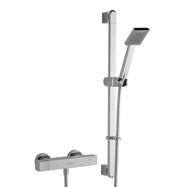 Bristan Quadrato thermostatic bar shower valve with slider rail kit
