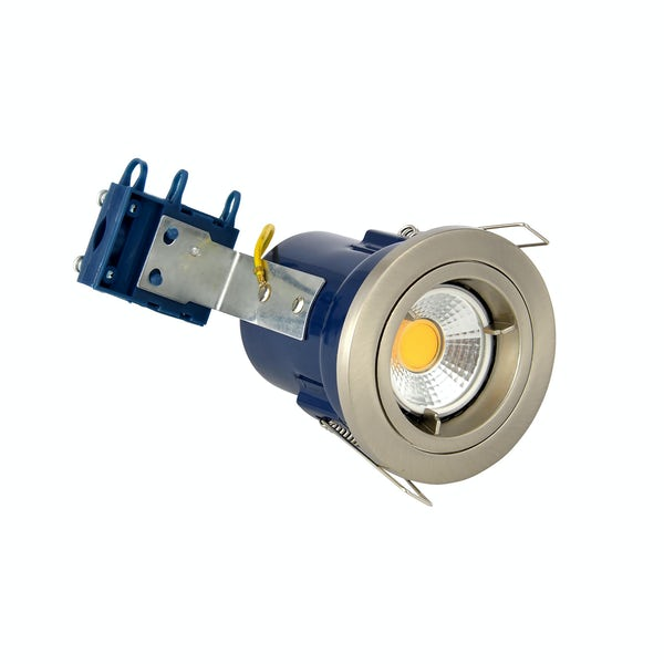 Forum fixed fire rated bathroom downlight in satin chrome