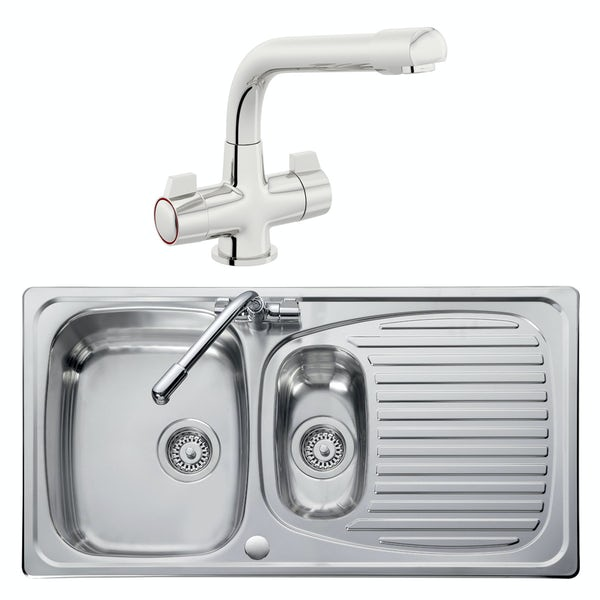 Leisure Euroline reversible stainless steel 1.5 bowl kitchen sink and Schon WRAS kitchen tap