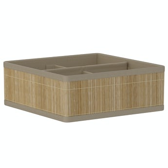 Accents Natural bamboo 4 section storage basket