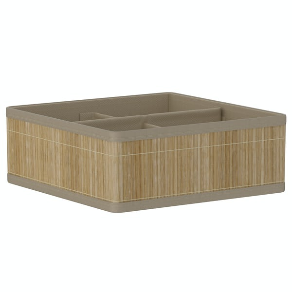 Natural bamboo 4 section storage basket