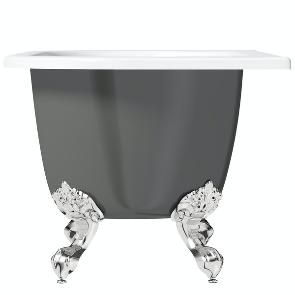 The Bath Co. Dalston grey back to wall freestanding bath with chrome ball and claw feet