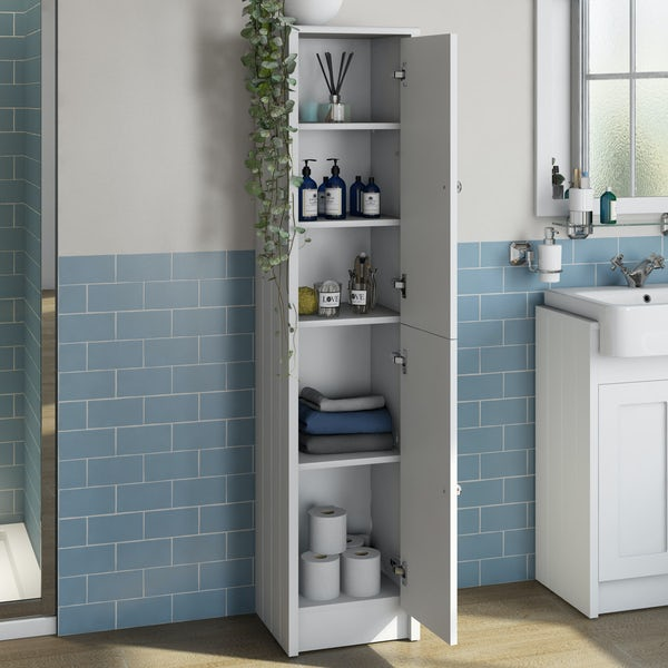 The Bath Co. Dulwich matt white tall storage unit 1603 x 350mm