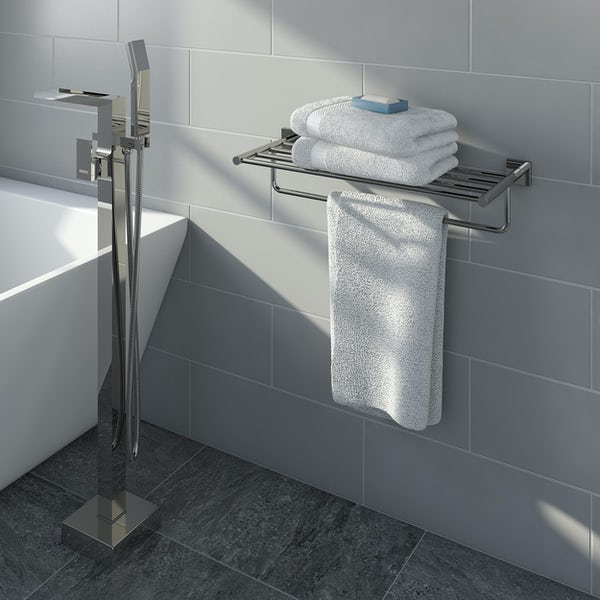 Accents square plate contemporary towel shlef