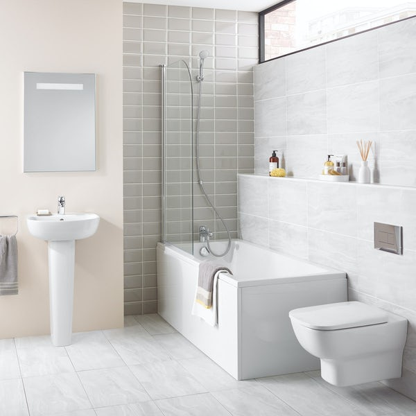 Ideal Standard Studio Echo cloakroom suite with wall hung toilet and full pedestal basin 450mm