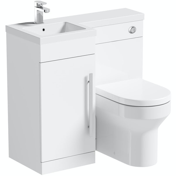 MySpace White left handed unit with Oakley back to wall toilet