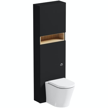 Mode Tate anthracite black & oak slimline tall back to wall unit and toilet with soft close seat