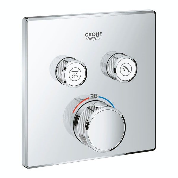 Grohe Grohtherm SmartControl square thermostatic concealed 2 way shower valve trimset
