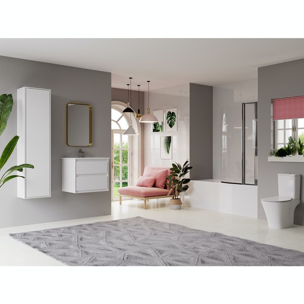 Ideal Standard Concept Air complete right hand white furniture and Idealform Plus shower bath suite 1700 x 800