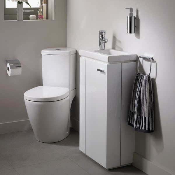 Ideal Standard Concept Space left handed cloakroom corner suite with vanity unit and basin
