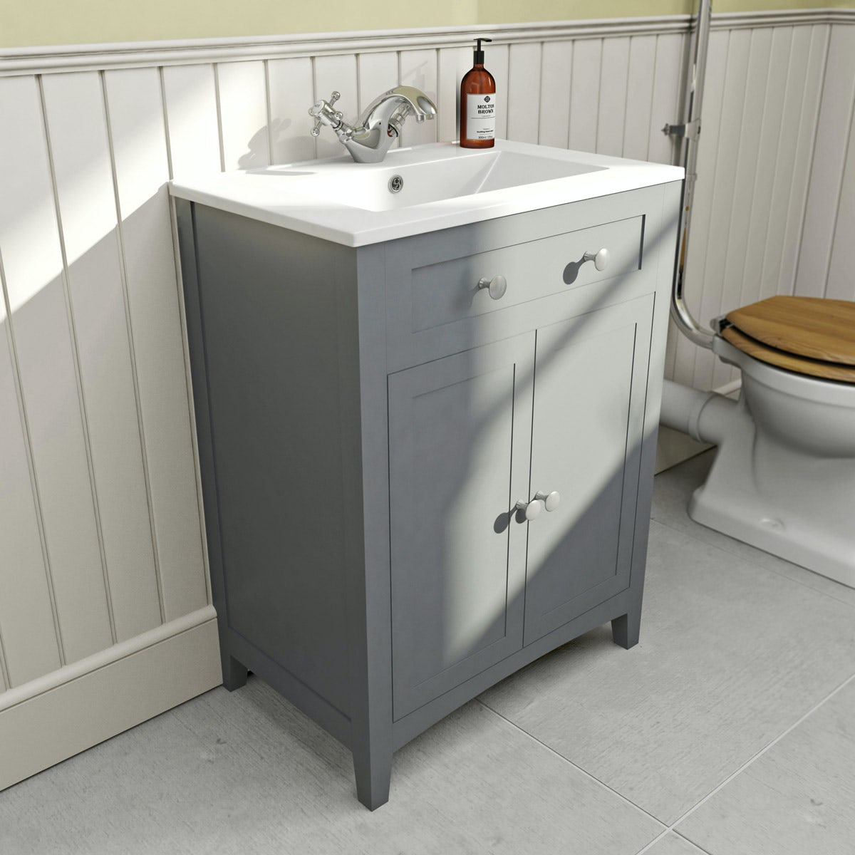 the bath co camberley satin grey vanity unit with basin 600mm rh victoriaplum com Miami Bathroom Vanity Corner Bathroom Vanity Units