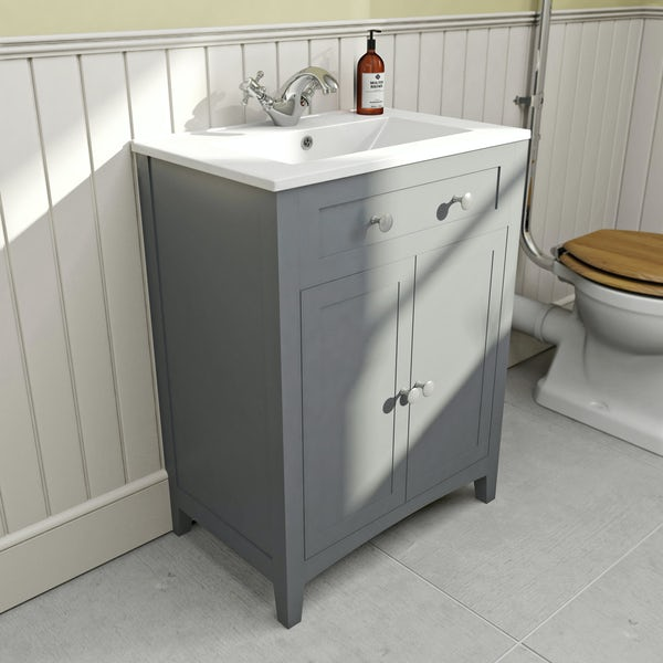 Bathroom Vanity Units B Q: The Bath Co. Camberley Satin Grey Vanity Unit With Basin 600mm