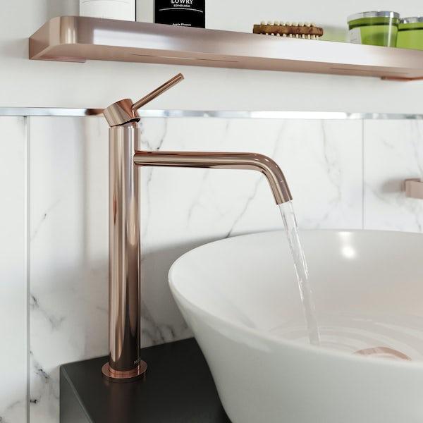 Mode Spencer round rose gold high rise basin mixer tap