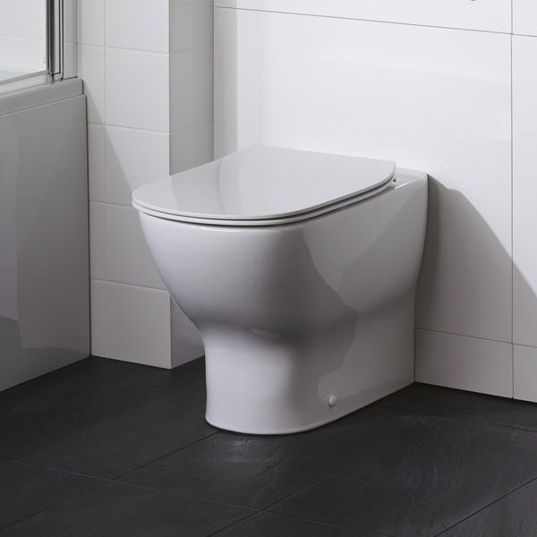 Ideal Standard Tempo gloss white back to wall unit, concealed cistern, push button and toilet with soft close seat