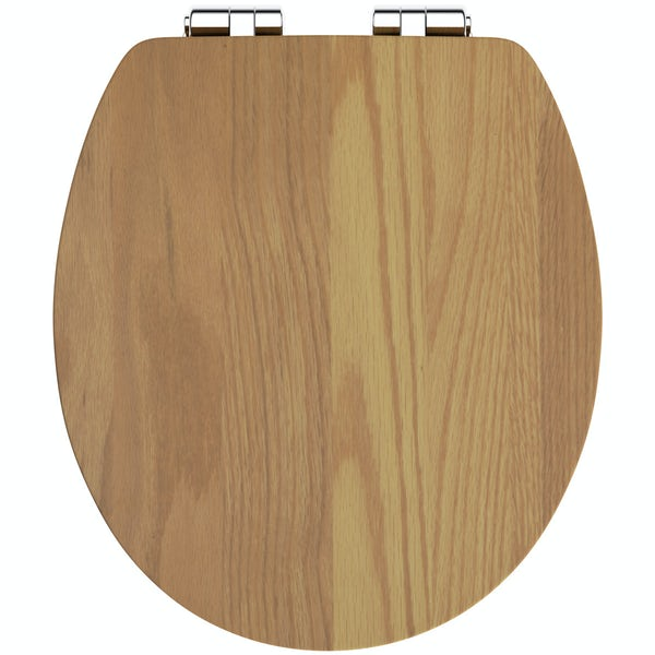 The Bath Co. red oak wood soft close seat
