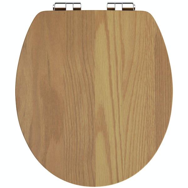 The Bath Co. red oak wood soft close seat